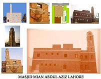 DESIGN OF MASJID MIAN ABDUL AZIZ IN LAHORE PAK.