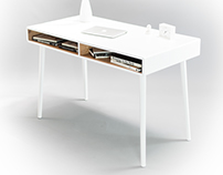 Gilda oak desk in white
