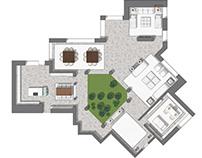 Floor plan 2D rendering para diseñador de interiores