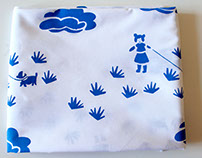 Hand printed fabric - girl with dog, in blue