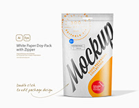 White Paper Doy-Pack with Zipper Mockup