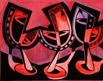 Woodcut commission -  Wine Cellar