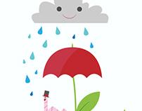 rainy day under an umbrelflower