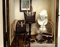 Artistic LV sets Designer Handbags decorating display