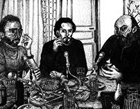 Trois hommes dans un salon (Van Gogh, Picasso, Cézanne)