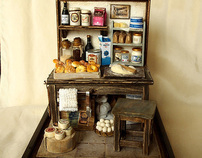 Vintage Small old Bakery- Baking bread- Miniatures