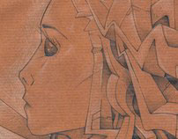 Brown paper & a white pencil