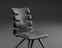 Dining leather chair concept. CGI