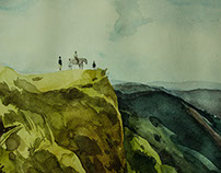 """ The Cliff "" Water colour art"