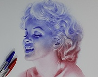 marilyn monroe with ballpoint pens