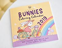 Bunnies Coloring Calendar 2019