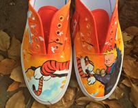 Hand painted Calvin & Hobbes vans