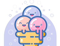 Kawaii ice cream logo.