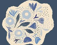 Indigo sketchy flowers