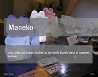Maneko: Cast Glass Cat Lamps