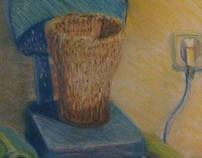 'Synthesis with plastic objects' pastels on paper