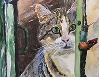 Cat in the window, watercolor
