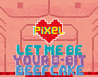 Pixel Love greeting cards #7&8 8-bit beefcake and babe
