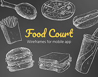 Food Court. Wireframes for Mobile App