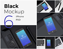 Black iPhone Pack 6 Psd Photorealistic Mockups