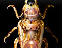 golden bug in vector graphics