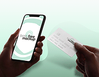 Free PSD holding iPhone and credit card mockup 2