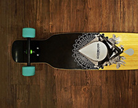 Longboard graphics collage. Cosmic Dancer.