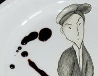 portraits on plates.