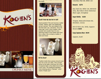 Print Materials For Kogen's Asian Restaurants