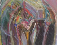 'funeral on a rainy day' pastels and charcoal