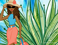 Traveling Girl Illustration for Business Card Art