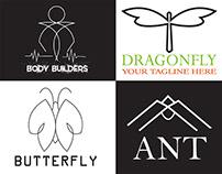 Minimalist Butterfly, Dragonfly,AntLogo Design