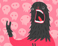 Fluffy Scream Face Illustration