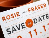 Fraser & Rosie's autumnal wedding invitation