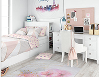 Kids Room - Bed Set, Tapestry, Rug & Pillows Set