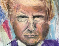 "Donald Trump 18x24"" Pastel, Canvas • Tucson '17"