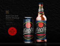 Beer Can and Bottle Mockup