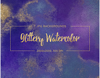 7 Glittery Watercolor Backgrounds