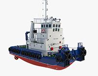Tugboat. 3D model.