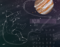 Space themed calender - 2016