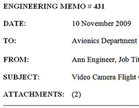 RE-WRITE: Technical Writer Engineering Memo