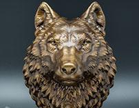 Wolf head model. 24cm