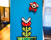 8 bit Piranha Plant and Mario handcut papercraft
