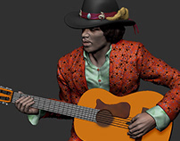 Jimmy Hendrix Zbrush 3d sculpture