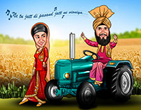 Indian Wedding Caricature Card Designs