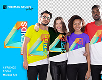 4 Friends T-Shirt Mockup Set
