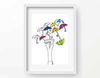 The Magnificent Umbrella Balancing Act. Illustration.
