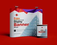 Free Expo Curved Display Banner Mockup