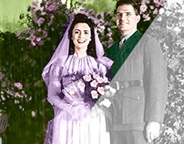 1943 Wedding Photo Restored Recolored