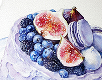 Purple cake with figs